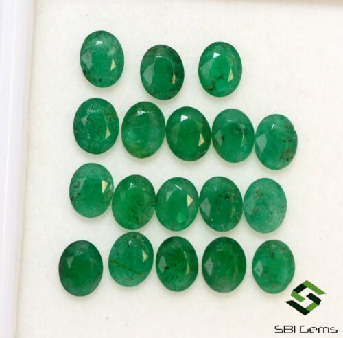 5.34 Cts Certified Natural Emerald Oval Cut 5x4 mm Lot 18 Pcs Loose Gemstones