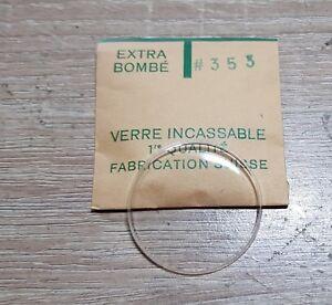 Verre-de-montre-suisse-bombe-plexi-diametre-353-Watch-crystal-vintage-NOS