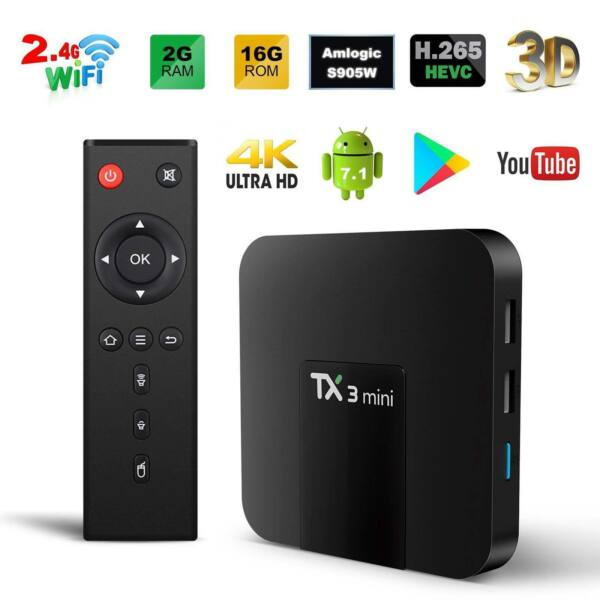 2019 Tx3 Mini 2gb+16gb Android 7.1 Quad Core Tv Box 17 Hd Media Player Wifi Uk