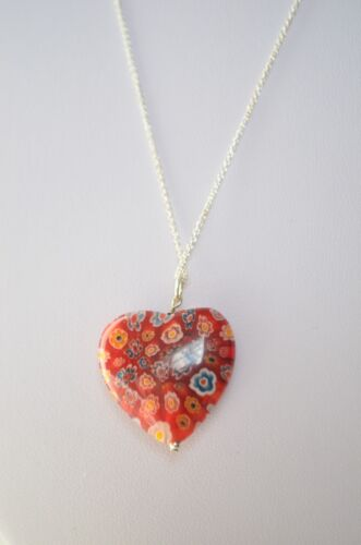 Sterling Silver 925 Red Millefiori Lampwork Pendant Necklace 20""