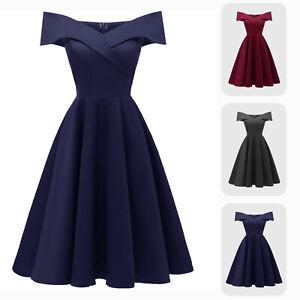 Vintage-Off-shoulder-Knee-Length-A-line-Fit-N-Flare-Formal-Cocktail-Satin-Dress