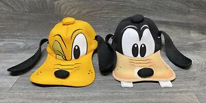 Lot Of 2 Hats Pluto Goofy Walt Disney Parks Trucker Hat Scrunch Back Adult Size Ebay