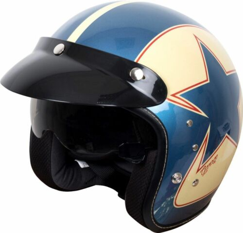 Duchinni D501 Garage Open Face Motorcycle Helmet Blue Crash Lids Scooter Bike