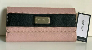 NEW-NINE-WEST-SEGMENT-PINK-AND-BLACK-CONTINENTAL-CLUTCH-WALLET-SALE