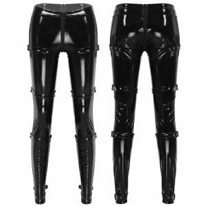 Women-Skinny-Leather-High-Waist-Zipper-Crotch-Pants-Legging-Pencil-Tight-Trouser