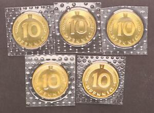 10 Peniques 1993 A, D, Para , G, J 5 Monedas Completo, En Película Prfr St 56540