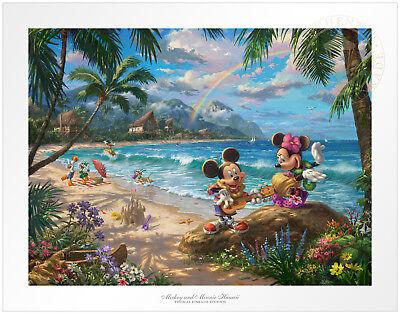 Thomas Kinkade Studios Mickey and Minnie in Hawaii 12 x 16 S//N LE Paper