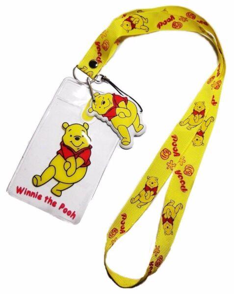 Indipendente Winnie The Pooh Carattere Giallo Cordoncino W/ Id Supporto E Fascino Portachiavi Rafforzare L'Intero Sistema E Rafforzarlo