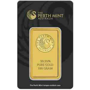 Perth-Mint-100g-9999-Gold-Minted-Bullion-Bar-Black-Cert-Card-100-Grams