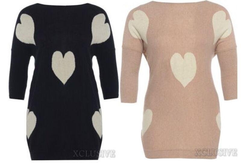 LADIES PLUS SIZE MULTI HEART KNIT JUMPER DRESS 3 4 SLEEVE WINTER KNIT TOP 16-24