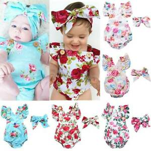 Infant Newborn Baby Girl Playsuit Floral Jumpsuit Headband Clothes Outfit Romper