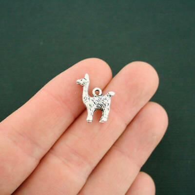 SC6970 4 Llama Charms Antique Silver Tone Alpaca 3D Two Sided