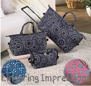 0ebe12a0561b 3 PC Luggage Set Suitcase Tote Rolling Duffel Bag Geo-Circles Floral ...