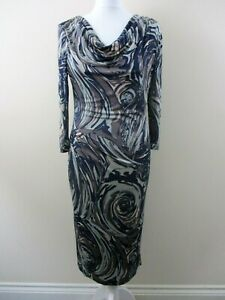 M-amp-S-Autograph-dress-size-12-stretch-cowl-neck-navy-brown-pale-blue-unusual
