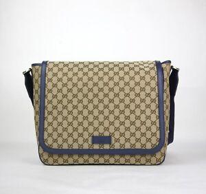 de7307572 New Gucci Beige/Brown Original GG Messenger Diaper Bag 510340 9867 ...