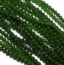 "GR891c Dark Green 6mm Malay Jade Smooth Round Quartz Gemstone Beads 15"""