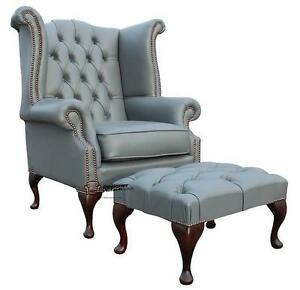 Details About Chesterfield Queen Anne High Back Wing Chair Silver Grey Leather Footstool
