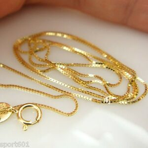 New Solid 18k Yellow Gold Chain Women Luck 0.6mmW Box Link Necklace 16.5inch