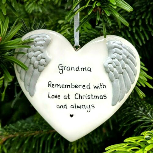 Personalised Hanging Angel Wings In Memory Heart Sympathy Add any Name /& Message