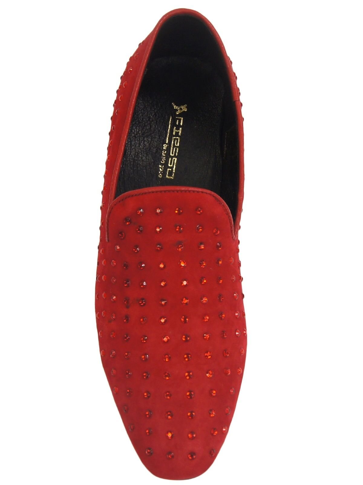 Fiesso Uomo Red Slipper Suede Rhinestone Dress Casual Slipper Red Loafer Party Trending Shoe 1d0835