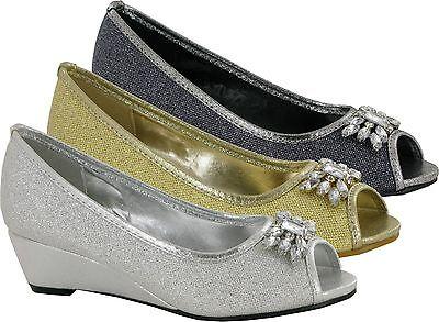 Nuevas damas de piedra establecimiento estrictamente Peep Toe Cuña Brillante Mujer Zapatos
