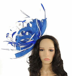 Image is loading Royal-Blue-White-Fascinator-Hat-for-weddings-ascot- 504c09fde69