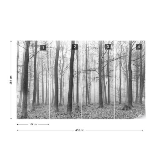 Black And White Misty Forest Photo Wallpaper Wall Mural Fleece EasyInstall Paper