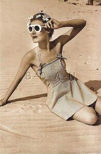 1940s-60s Sepia (4 x 6) Semi Nude Repro Pinup RP- Pretty