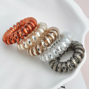 5pcs set Spiral Plastic Hair Tie Wire Coil Hair Bands Rope Ring ... e1c0dd660e3