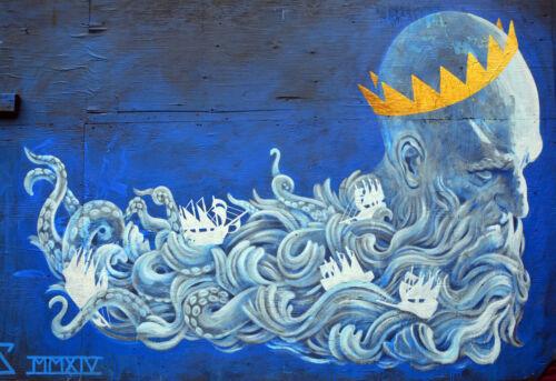 A0 painting CANVAS PRINT URBAN neptune atlantis sea god GRAFFITI STREET ART