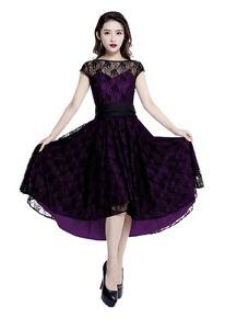 Details about Plus Size Purple Gothic Retro Hi Lo Lace Short Sleeve Dress  1X 2X 3X 4X
