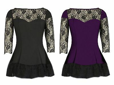 6//8-26 BLACK PURPLE LACE SLEEVE LONG FISHTAIL GOTHIC FLARED SKATER TOP PLUS SIZE