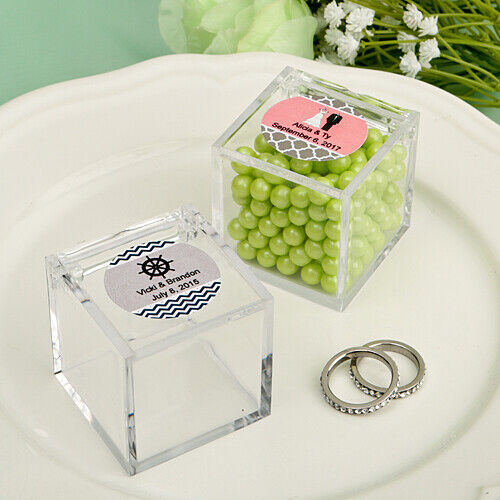 50-300 Personalized Acrylic Square Candy Favor Box - Wedding Shower Party Favor