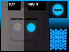 100 x Luminescent Blue Glow in the Dark Vinyl Light Switch Round Stickers
