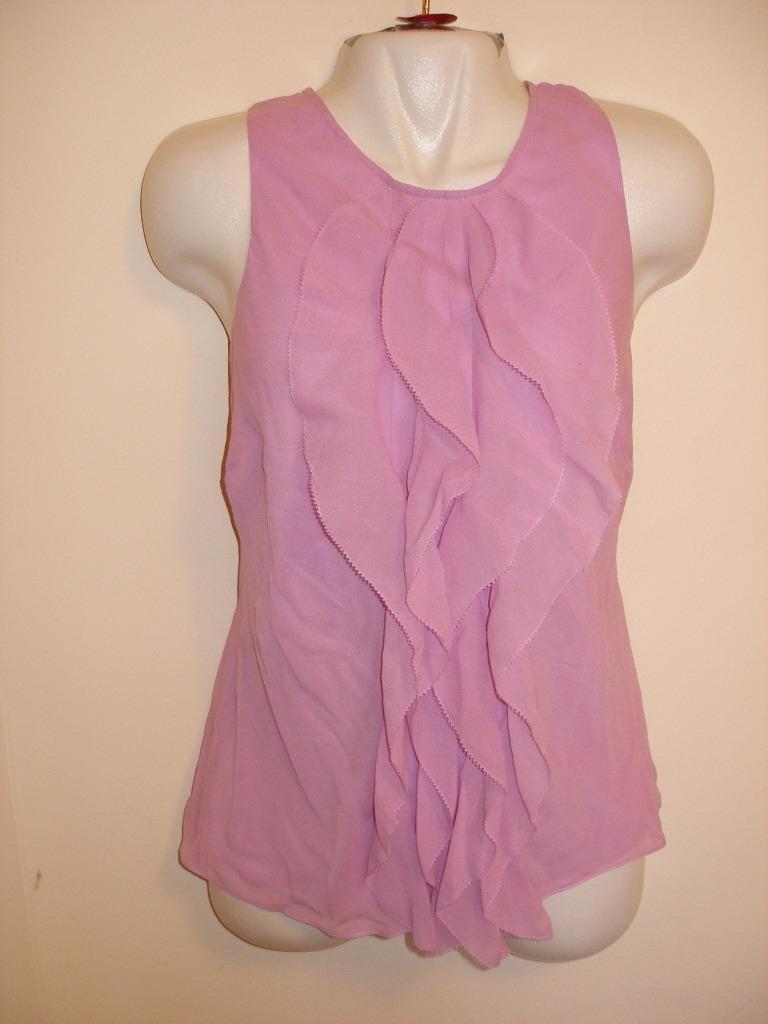 NEW Dana Buchman 100% Silk Sleeveless Top with Flowy Decorations Lined Größe 12