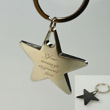 Personalised Star Keyring Key Ring Chain Charm Pendant Engraved Mother's Gift