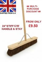 "24"" Stiff Broom C/W Handle & Stay Brush Sweeping Industrial Yard Outdoor Strong"