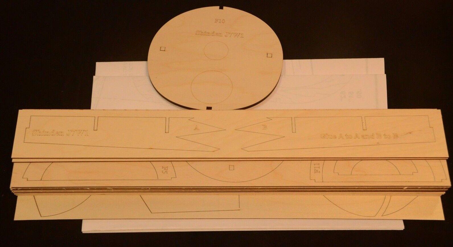 1 5.4 Scale KYUSHU J7W1 SHINDEN Laser Cut Short Kit & Plans 80 in wing span
