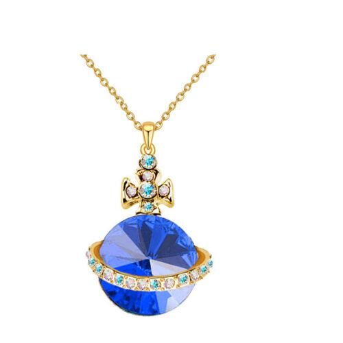 Amazing Crystal Gold Tone Orbs Orbital Ufo Cross Design Pedant Women Necklaces
