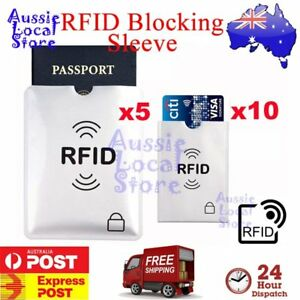 1bb4a8d0f425 Details about 5x Passport & 10x RFID Blocking ID Credit Card Protector  Sleeve Shield Holder AU