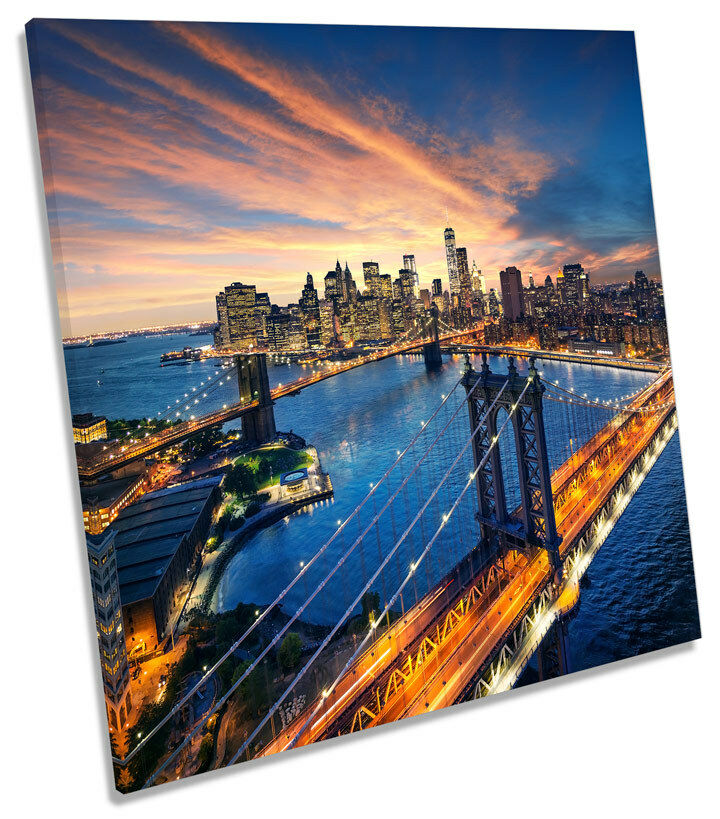 New York Brooklyn Bridge City CANVAS WALL ART SQUARE Picture Print