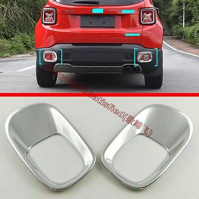 For Jeep Renegade 2015 2016 ABS Chrome Rear Fog Light Lamp Cover Trim 2Pcs
