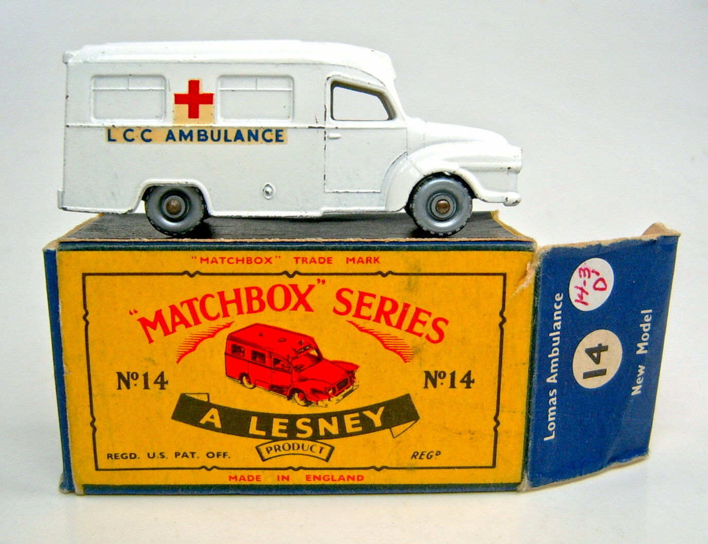Matchbox No.14C Lomas Ambulance pure-white body with cross casting boxed
