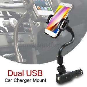 INSMA Dual USB Car Charger Mount Holder W/ Cigarette Lighter For Cell Phone GPS