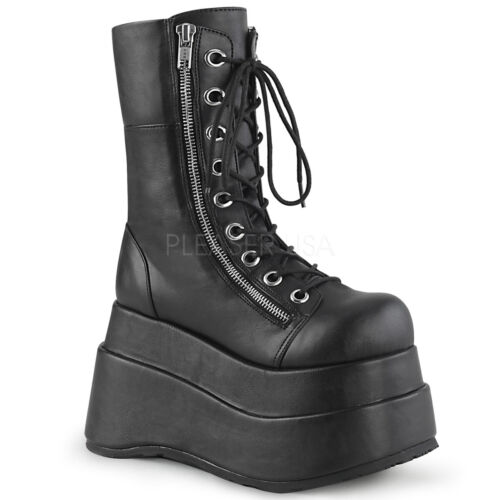 "PLEASER Demonia Bear-265 4 1//2/"" Tiered Platform Mid-Calf Boot Vegan Leather"