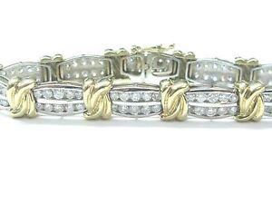 Two-Tone-Diamond-X-Tennis-Bracelet-Solid-14Kt-Gold-G-H-SI1-4-10Ct-7-034