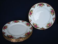 "6 Vintage Royal Albert OLD COUNTRY ROSES 10.5"" Dinner Plates ENGLAND 1st Mark"