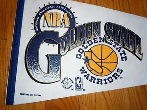 NEW-1990-VINTAGE-DEAD-STOCK-GOLDEN-STATE-WARRIORS-PENNANT-FULL-SIZE-BASKETBALL