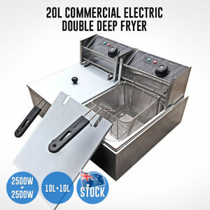 Electric-Double-Deep-Fryer-20L-Commercial-Bench-Top-Single-Stainless-Steel
