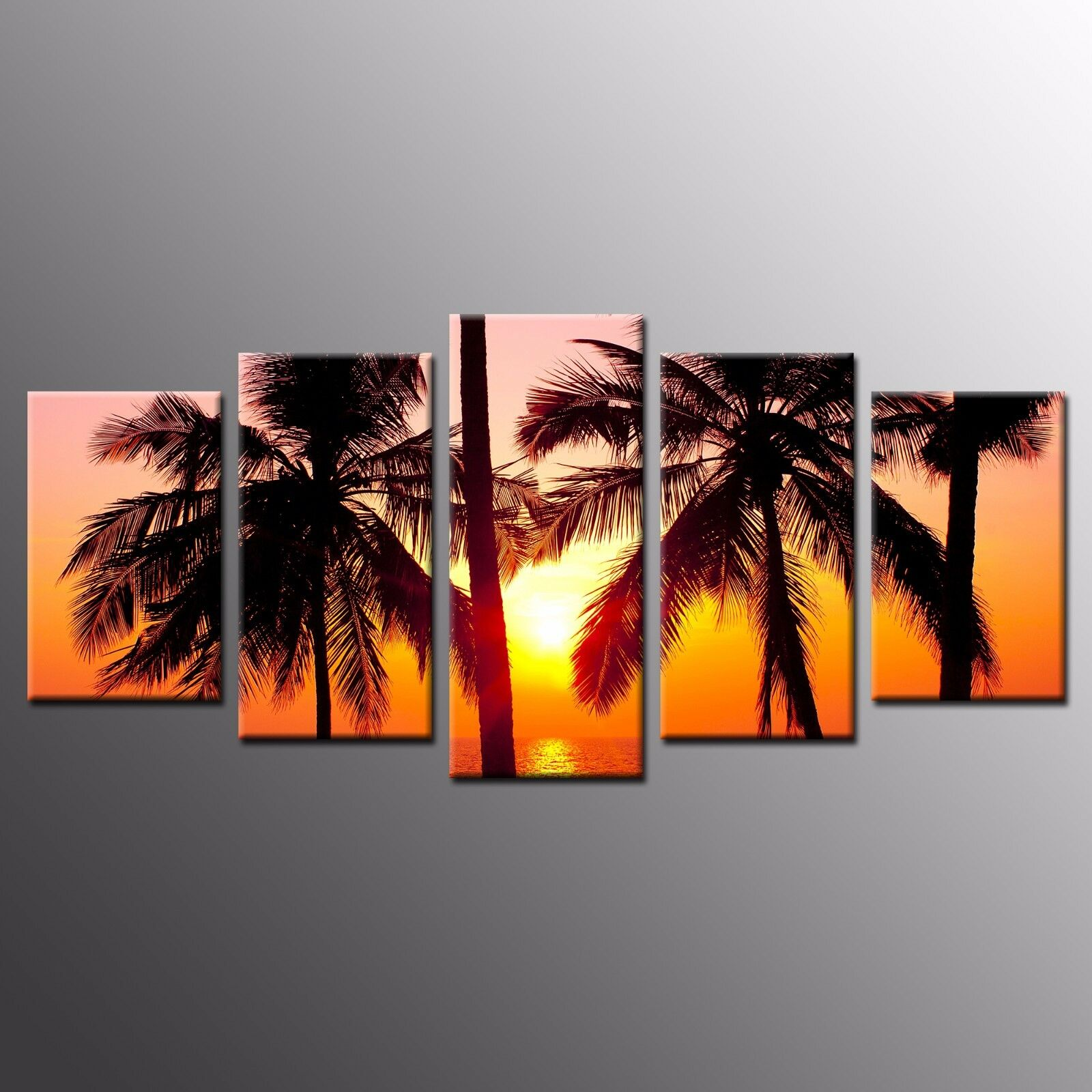 FRAMED Landscape Canvas Prints Coconut Trees Sunset Wall Art For Room Decor-5pcs